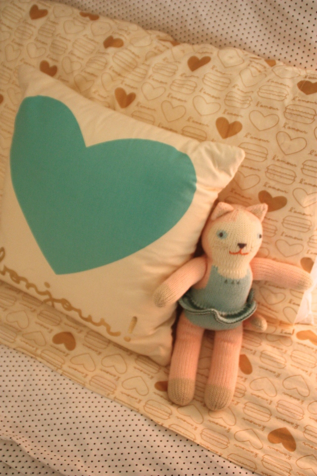 Bonjour pillow from Land of Nod, a blabla cat from BellaChes and French macaron sheets :)